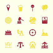 Theme Park Icons Color Series Vector EPS10 File.