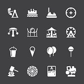 Theme Park Icons White Series Vector EPS10 File.