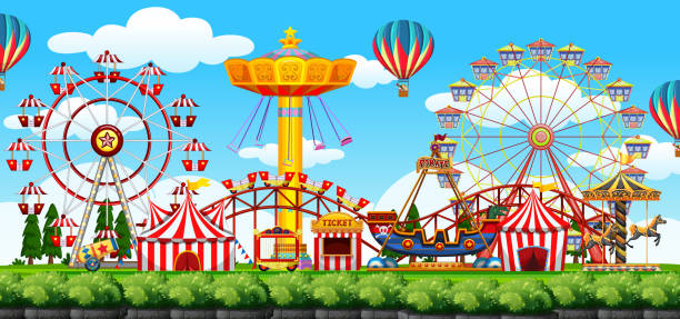 illustrazioni stock, clip art, cartoni animati e icone di tendenza di a theme park scene - luna park