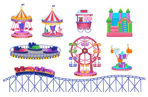 Theme Park set with electric cars, ferris wheel, carrousel, trampoline. Amusement park. Vector illustration for children.