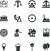 Theme Park Silhouette Vector File Icons.