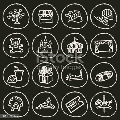 Vector File of Doodle Theme Park Icon Set
