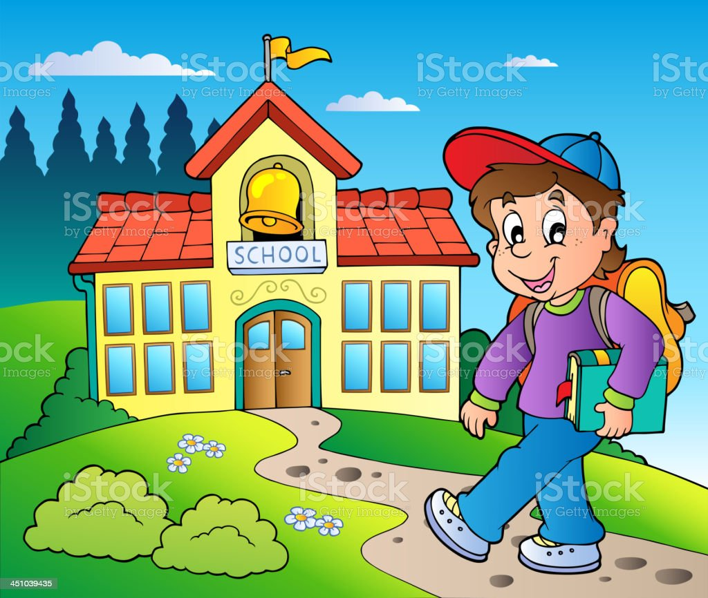 Theme with boy and school building royalty-free stock vector art