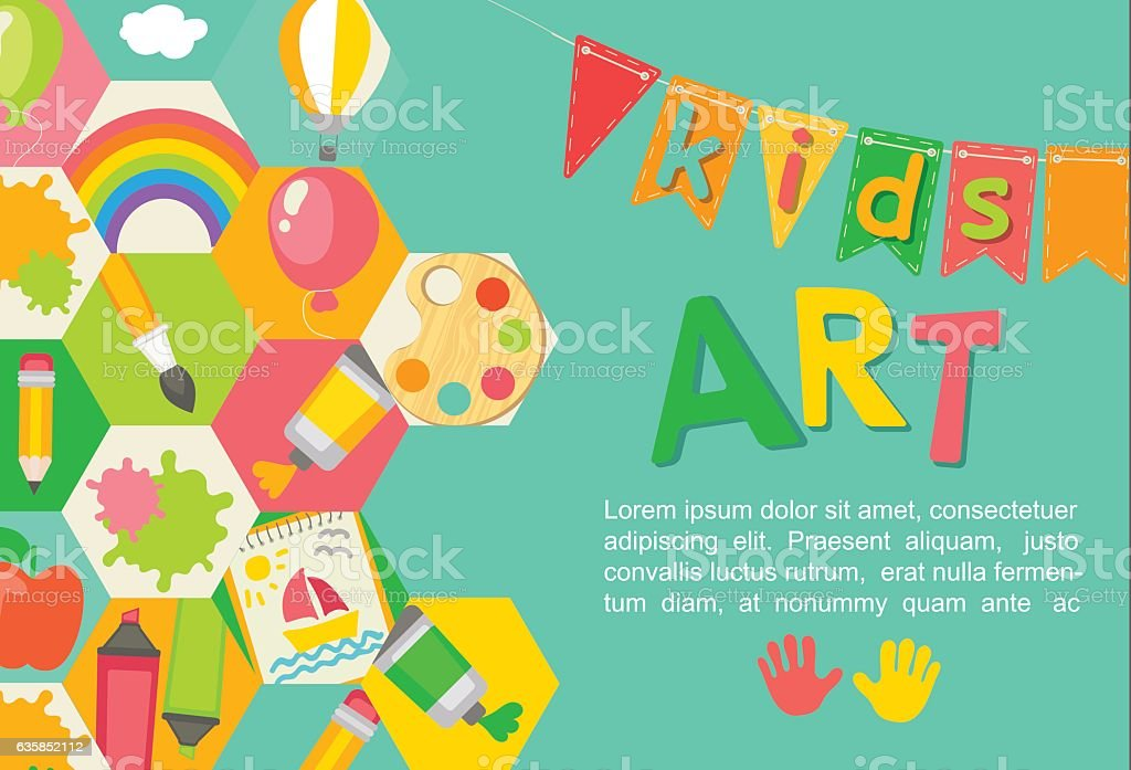 Themed Kids art poster. vector art illustration
