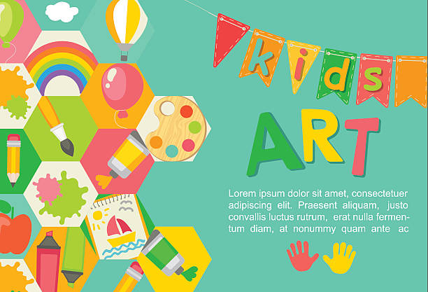 themed kids art poster. - art and craft stock illustrations