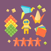 Themed kids origami creativity creation symbols poster in flat style with artistic objects for children art school fest unusual toys network vector illustration. Hand drawn signs for games.