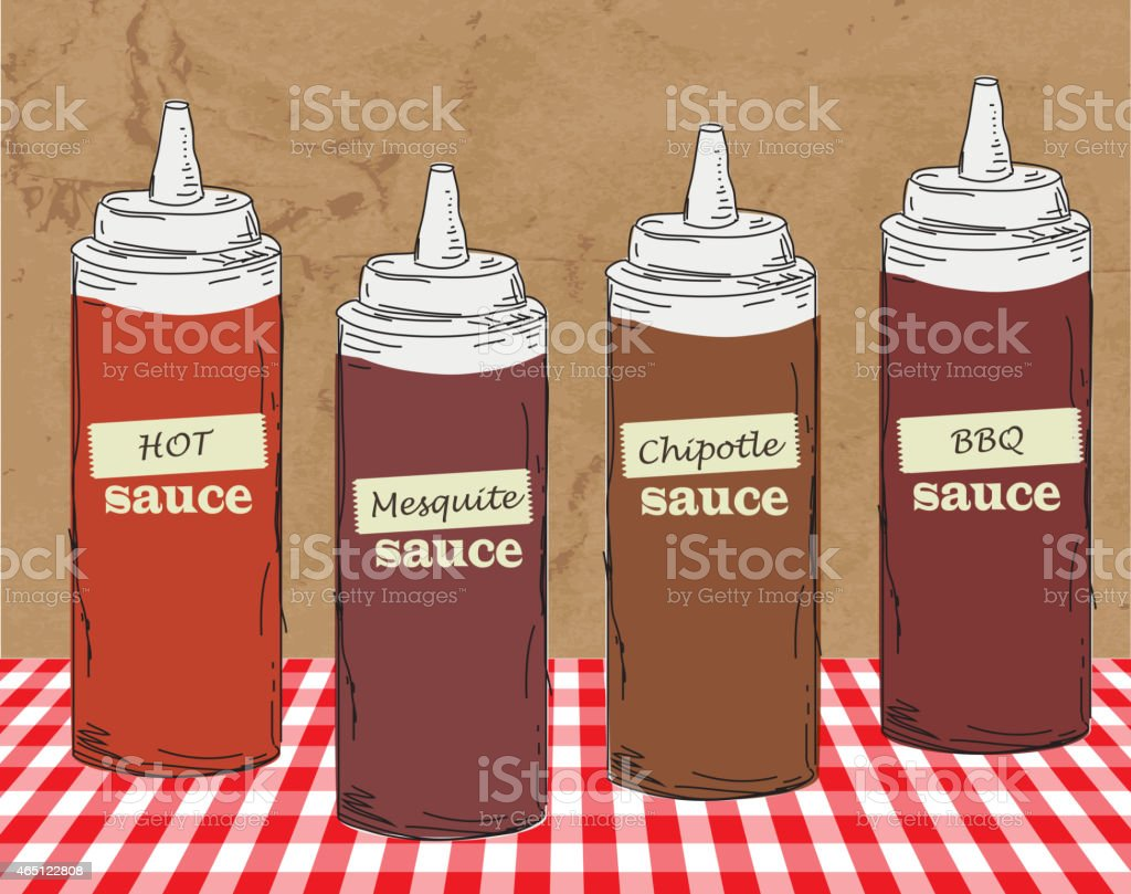 BBQ themed squeeze bottles hand drawn vector art illustration