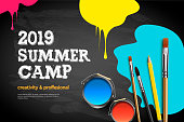 Themed Summer Camp poster 2019. Kids art craft, education, creativity class concept, vector illustration.