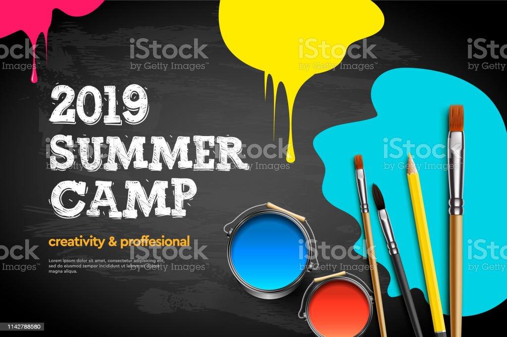 Themed Summer Camp poster 2019. Kids art craft, education, creativity class concept, vector illustration. vector art illustration