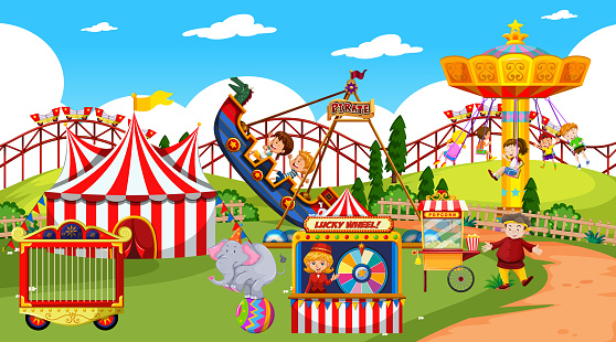 Themepark scene with many rides and happy children