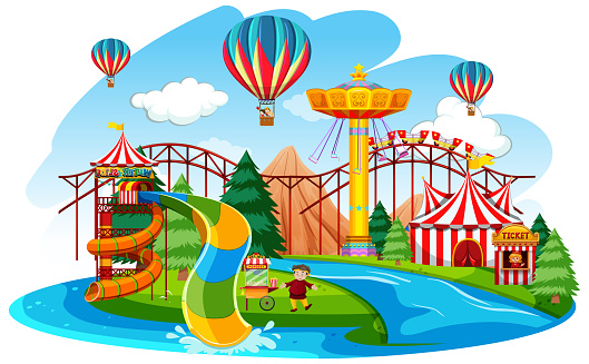 Themepark scene with many rides by the river