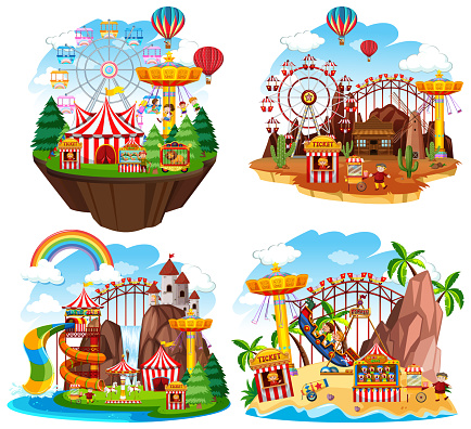 Themepark scene with many rides on islands