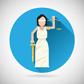 Themis Femida character with scales and sword icon law justice
