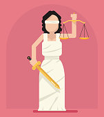 Themis Femida with scales and sword symbol of law justice