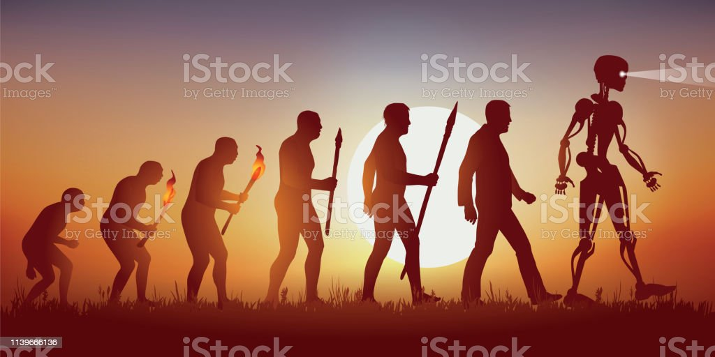Theory of the evolution of the human silhouette of Darwin leading to the robot with artificial intelligence. vector art illustration