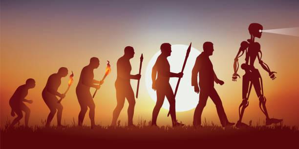 Teoría de la evolución de la silueta humana de Darwin que conduce al robot con inteligencia artificial. - ilustración de arte vectorial