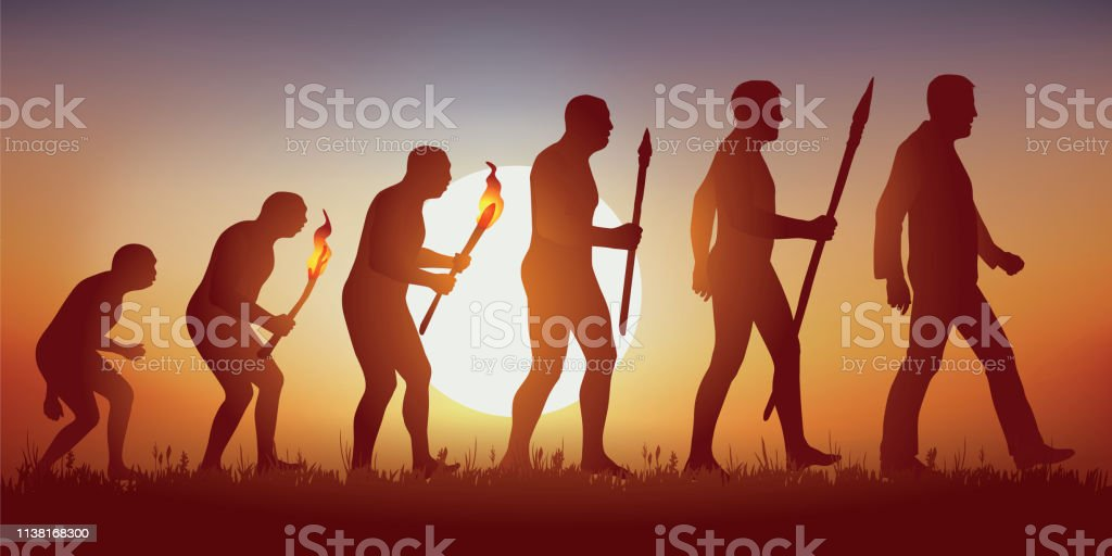 Theory of the evolution of the human silhouette of Darwin. vector art illustration