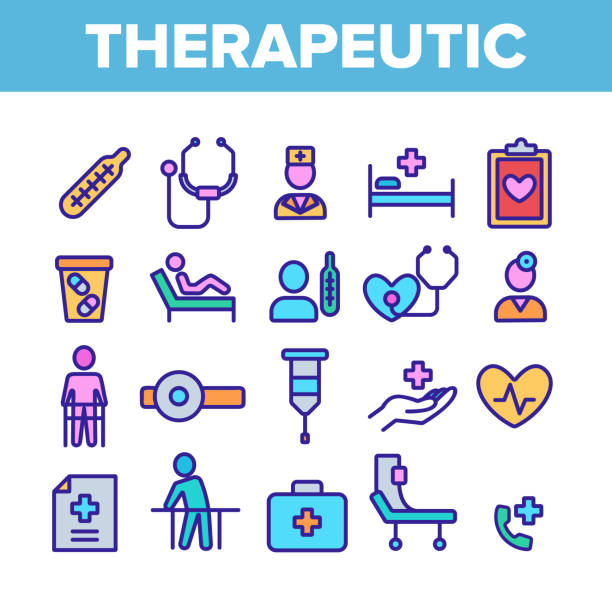 therapeutische sammlung elemente icons farbsatz vektor - hausarzt stock-grafiken, -clipart, -cartoons und -symbole