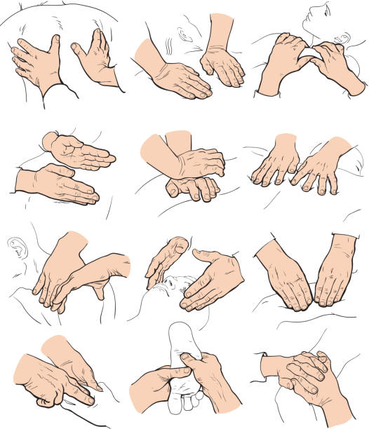 Therapeutic manual massage. Medical therapy Hand massage, foot massage, back massage. Types of massage. Set with image of massage. Face massage. Massage therapy. Therapeutic manual massage. Relaxing therapy. Massage vector icons. Body massage massaging stock illustrations
