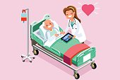 Elderly patient in bed and therapist. 3D flat isometric people in flat style design. Vector illustration