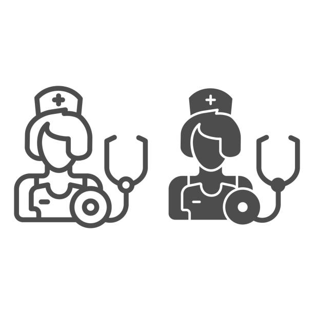 therapeutenlinie und glyphensymbol. medic vektor-illustration isoliert auf weiß. arzt umriss stil design, für web und app entworfen. eps 10. - hausarzt stock-grafiken, -clipart, -cartoons und -symbole