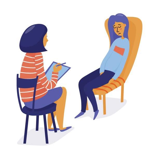 ilustrações, clipart, desenhos animados e ícones de terapeuta, psicólogo consultoria deprimido mulher - profissional de saúde mental