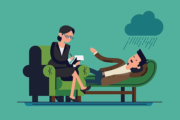 ilustraciones, imágenes clip art, dibujos animados e iconos de stock de terapeuta y paciente - profesional de salud mental