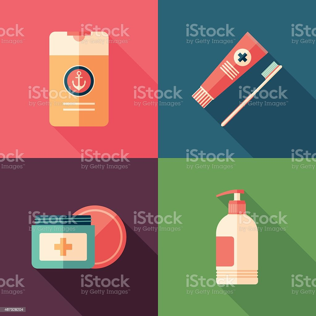 Therapy and hygiene flat square icons with long shadows. vector art illustration