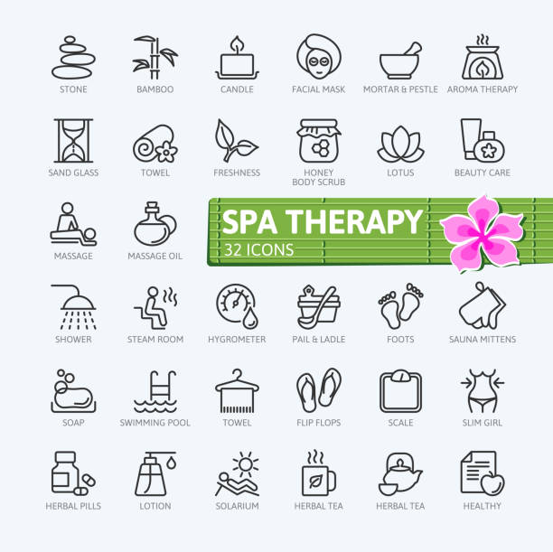 spa therapy elements - outline icons collection - wellness stock illustrations