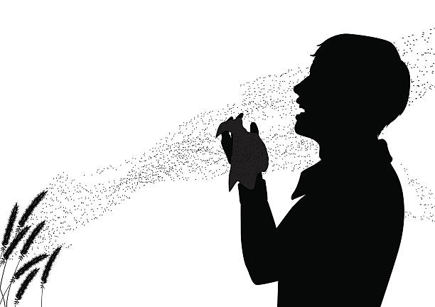 Hay fever EPS8 editable vector silhouette of pollen drifting from grass flowers with a man suffering from hay fever sneezing pollen stock illustrations