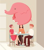 There's an elephant in the room that everyone noticed, but no one wants to say a word about it: The idiomatic expression applies to an obvious problem no one wants to discuss.