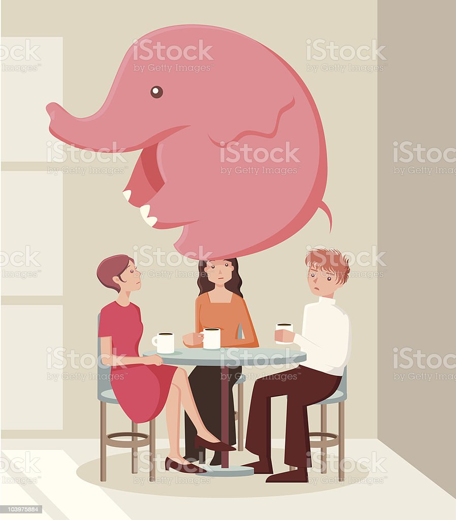 There's an elephant in the room vector art illustration