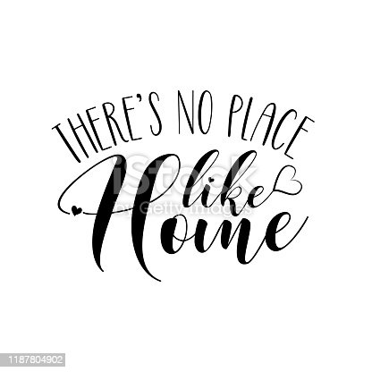 There's no place like home- positive phrase text.