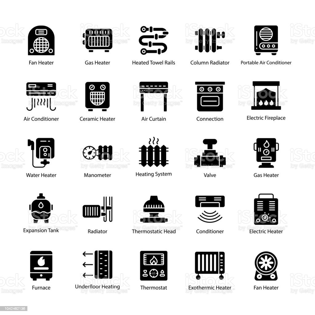 Thermal Heating Glyph Vector Icons vector art illustration
