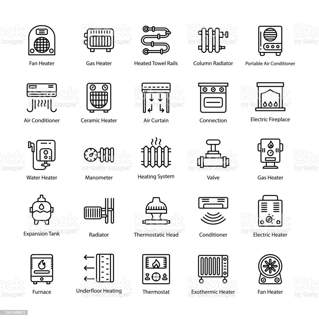 Thermal Heating Line Vector Icons vector art illustration