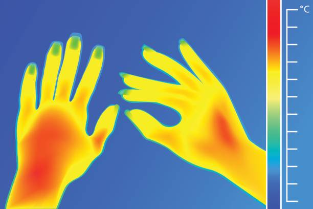 wärmebildkamera menschliche hände. das bild einer weiblichen waffen mit thermografische kamera. waage ist grad fahrenheit. - infrarotfotografie stock-grafiken, -clipart, -cartoons und -symbole