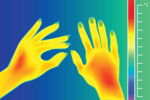 wärmebildkamera menschliche hände. das bild des armen mit infrarot-thermograph. - infrarotfotografie stock-grafiken, -clipart, -cartoons und -symbole