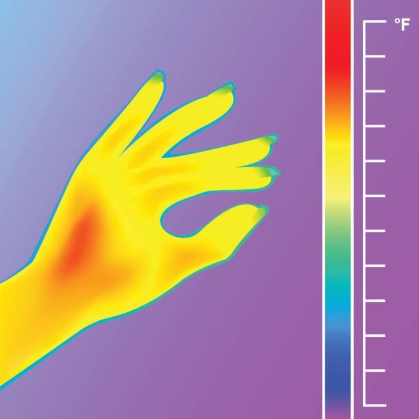 wärmebildkamera scan menschliche hand. das bild von einem weiblichen arm thermografische kamera verwenden. waage ist grad fahrenheit. - infrarotfotografie stock-grafiken, -clipart, -cartoons und -symbole
