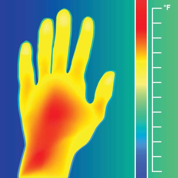 wärmebildkamera scan menschenhand vektor-illustration. waage ist grad fahrenheit. - infrarotfotografie stock-grafiken, -clipart, -cartoons und -symbole