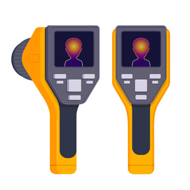 Thermal Imaging Device Portable handheld thermograph. Infrared Thermal Imaging Camera. Flat vector illustration on white background infrared stock illustrations