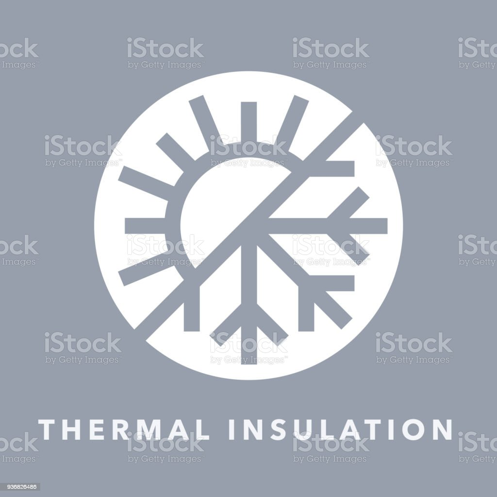 Thermal Insulation Icon With Sun And Snowflake Symbol Stock Vector