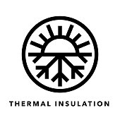 Thermal insulation icon with sun and snowflake symbol