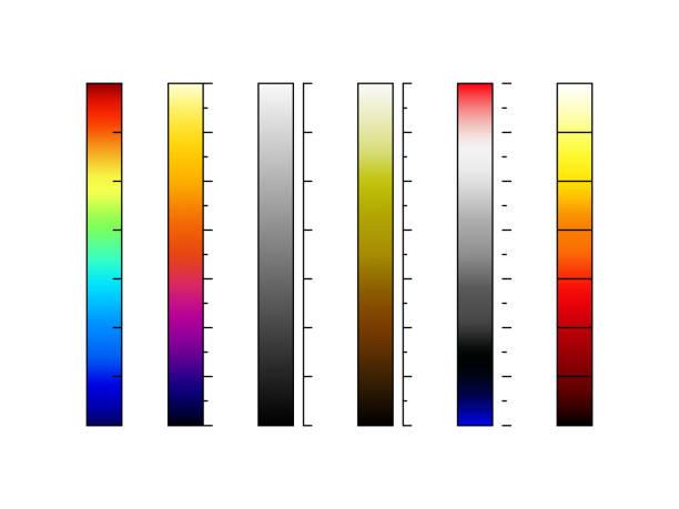 thermographische kamera farbpaletten vektor - infrarotfotografie stock-grafiken, -clipart, -cartoons und -symbole