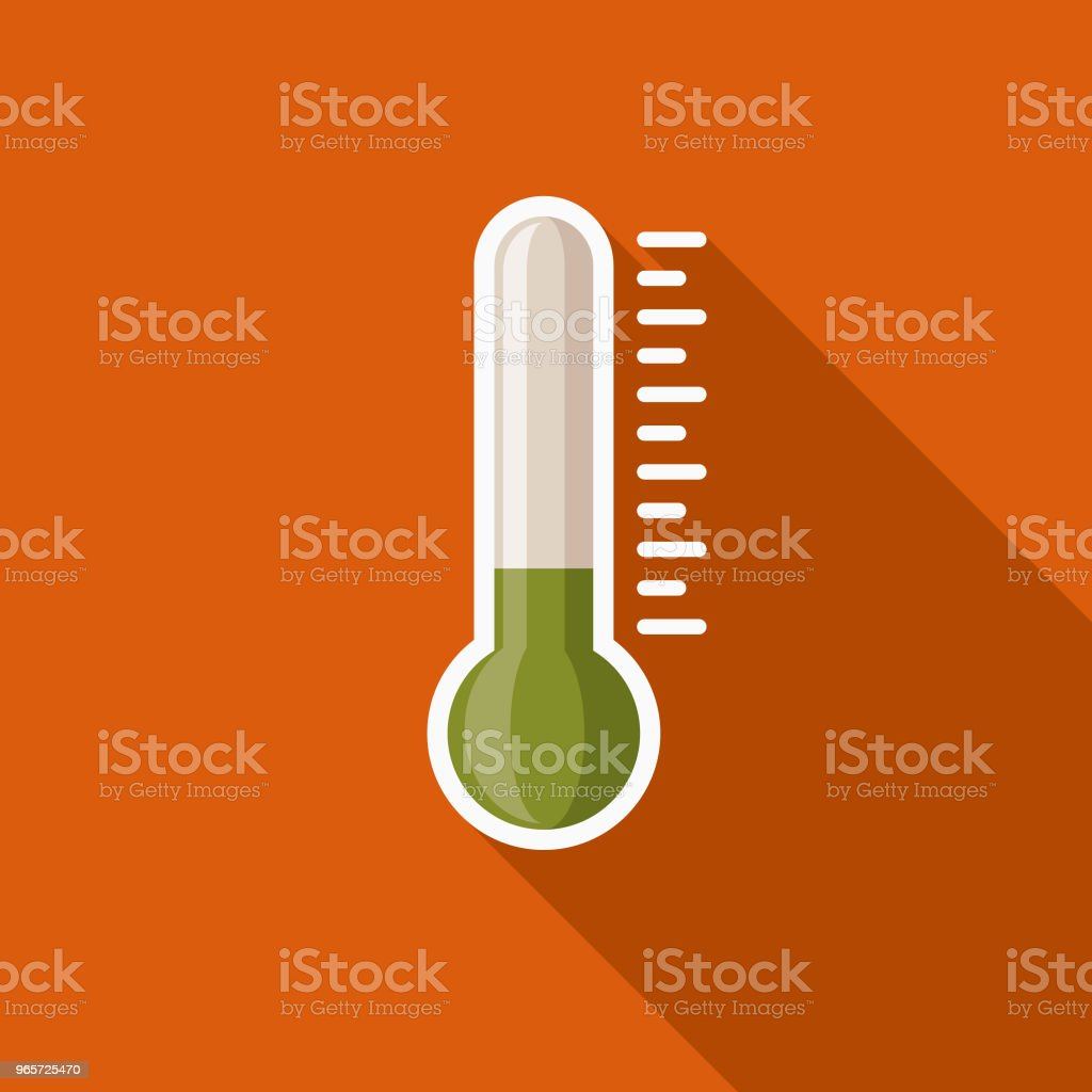 Thermometer Flat Design Autumn Icon with Side Shadow - Royalty-free Autumn stock vector