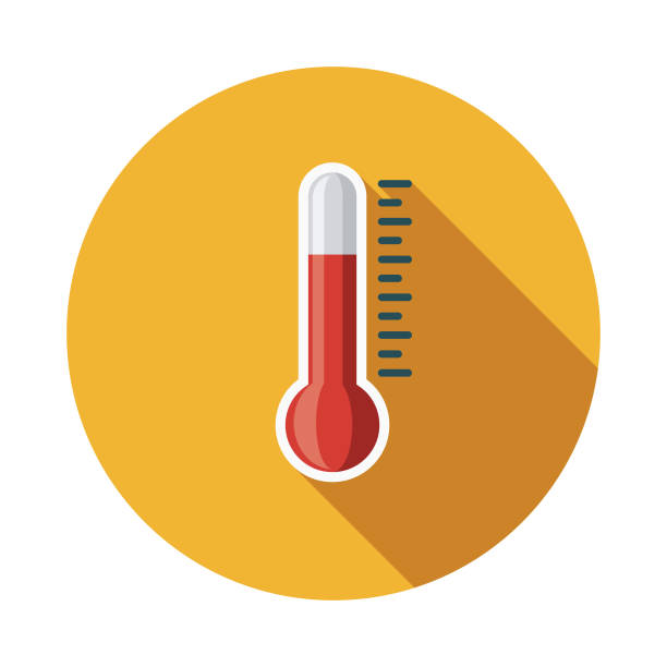 Thermometer Flat Design Weather Icon with Side Shadow A colored flat design weather icon with a long side shadow. Color swatches are global so it's easy to edit and change the colors. heat wave stock illustrations