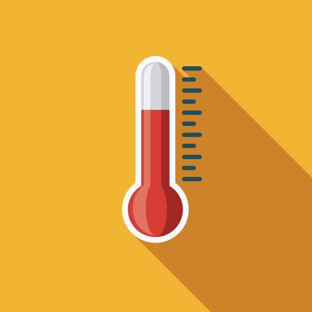 stockillustraties, clipart, cartoons en iconen met pictogram van het weer van de platte ontwerp van het thermometer met kant schaduw - thermometer