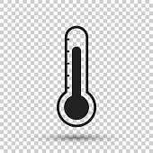 Thermometer icon. Goal flat vector illustration on isolated background.