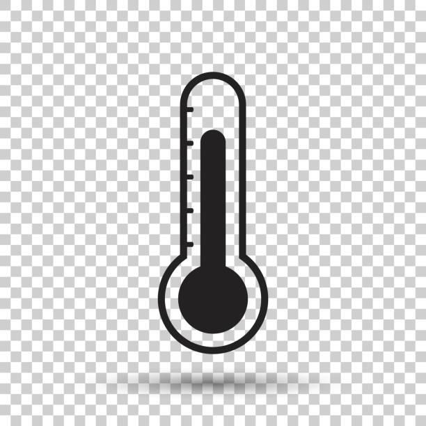 illustrations, cliparts, dessins animés et icônes de icône de thermomètre. objectif plate illustration vectorielle sur fond isolé. - chaleur