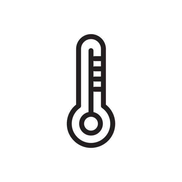 thermometer (covid protection equipment) icon outline vector. isolated on white background - covid testing stock illustrations