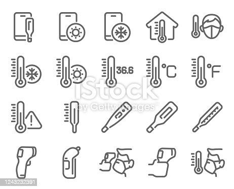 Thermometer icon set vector illustration. Contains such icon as Temperature Check, Screening, Scanning, Caution, Celsius, Fahrenheit and more. Expanded Stroke